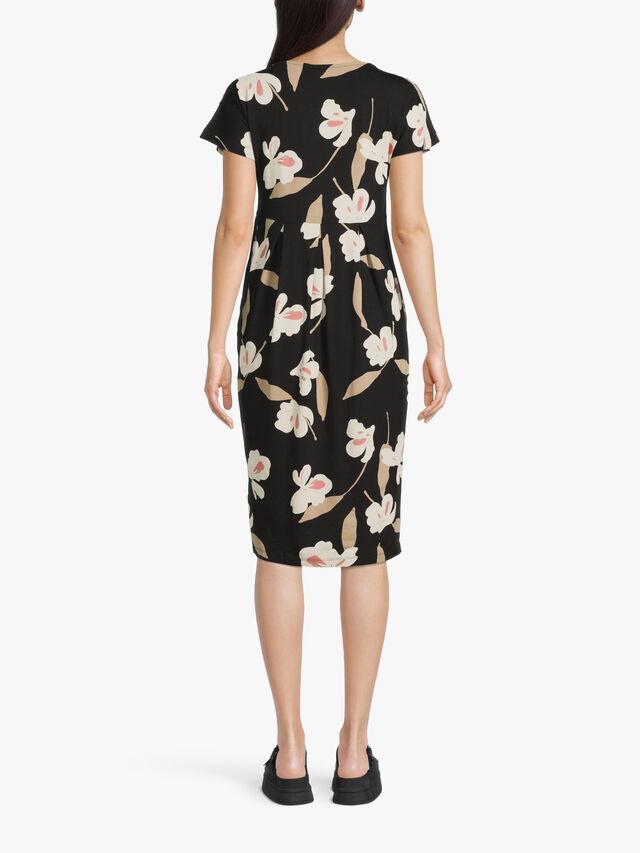 Olnia Block Flower Print Jersey Midi Dress