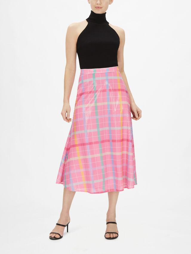 Penelope Check Sequin Skirt