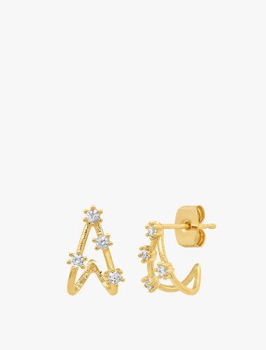 Stone Huggie Stud Earrings