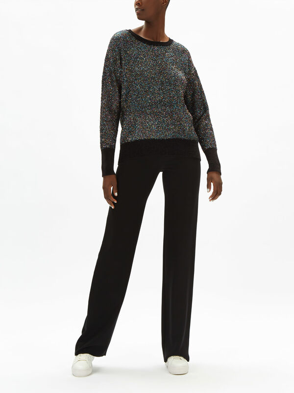 Crew Neck Chenille Pull Over with Lurex