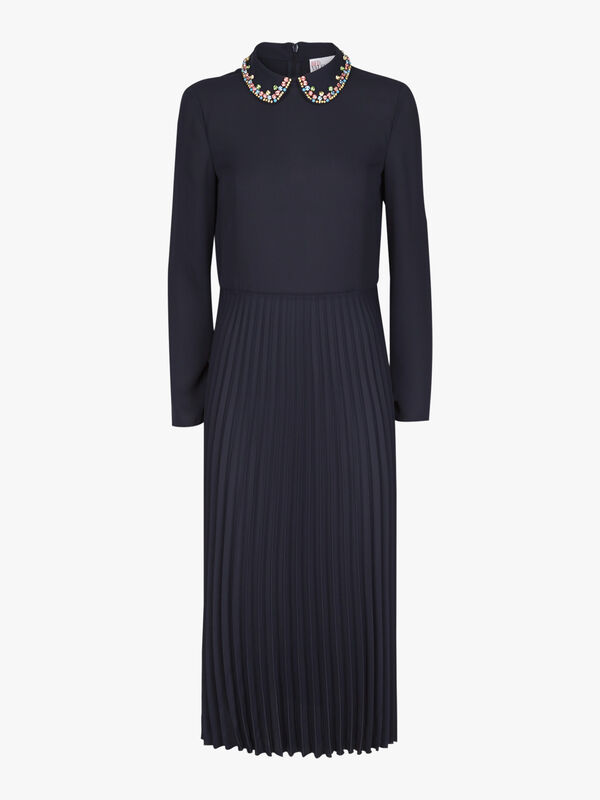 Embellished Collar Pleated Dress