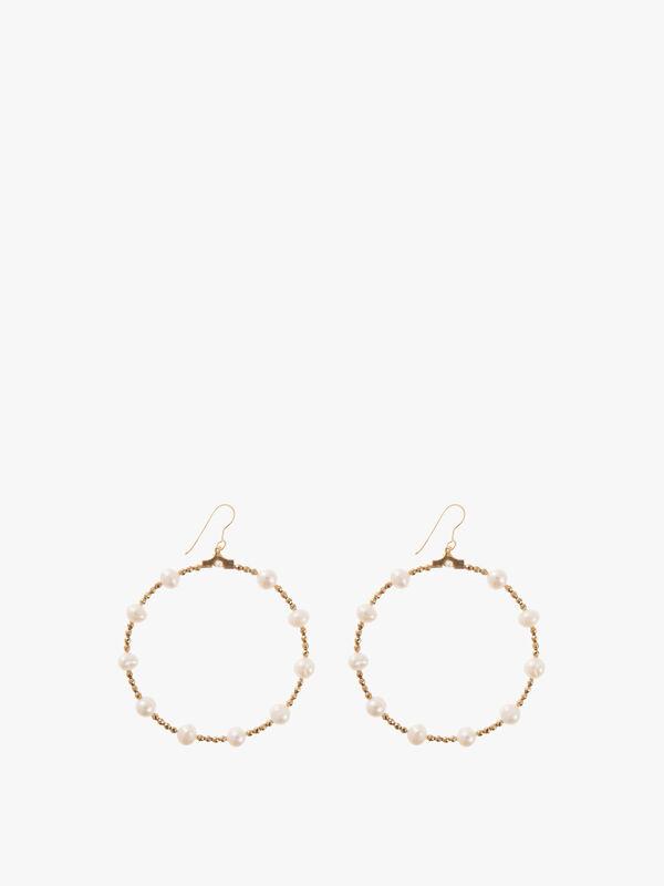 Pearl & Gold Hematite Hoop Earrings