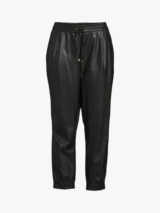 Faux Leather Pull On Jogger