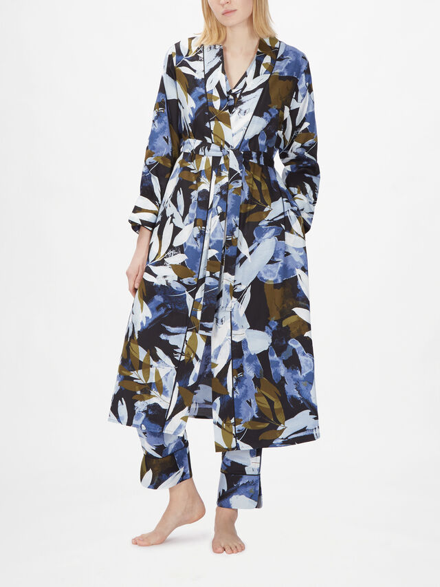 Kensington Long Sleeve Abstract Leaf Print Gown