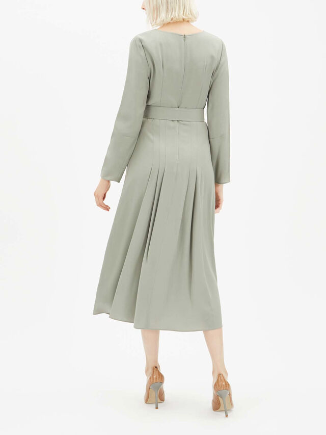 Pleat Detail Belted Cady Midi Dress