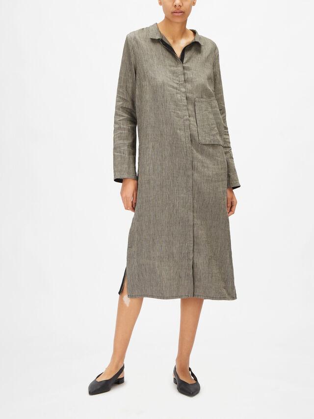 Long Sleeve Fine Striped Linen Midi Shirt Dress with Patch Pocket