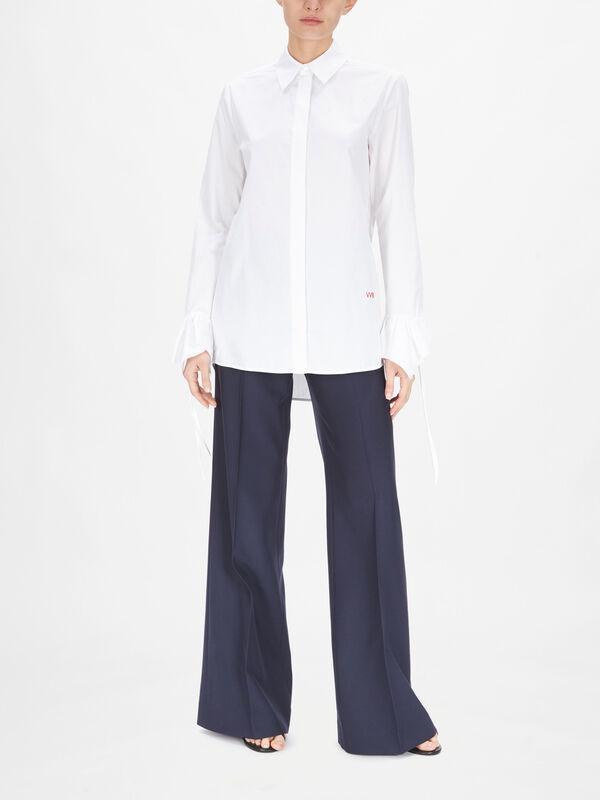 Flounce Sleeve Cuff Cotton Shirt