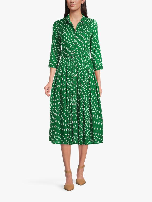 3/4 Sleeve Drapery Dots Midi Dress