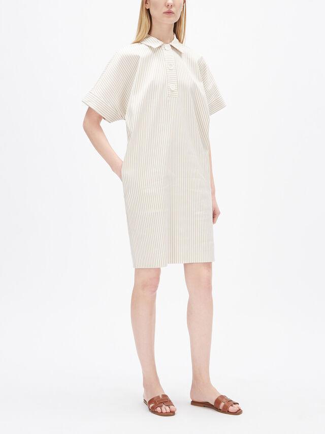 Fine Stripe Notch Neck Shirt Dress