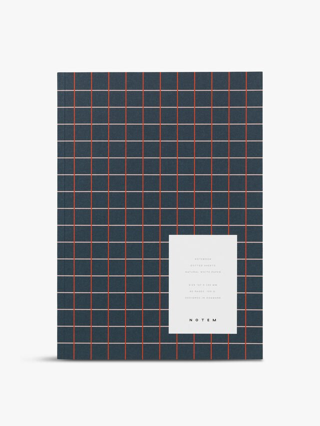 Vita Navy Grid Medium Notebook Ruled Pages