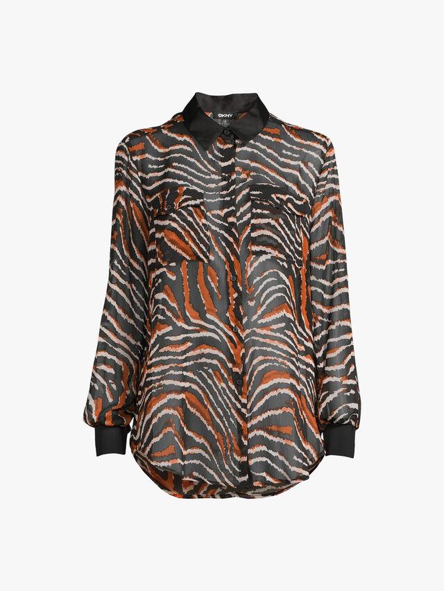 Printed Crinkle Chiffon Shirt