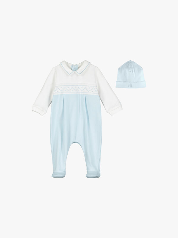 Embroidered Stitch Panel Babygrow With Hat