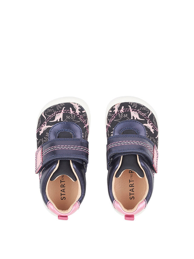 Footprint Navy/Pink Dino First Shoes