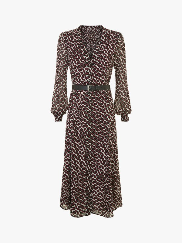 Mod Foulard Print Shirt Dress with Belt