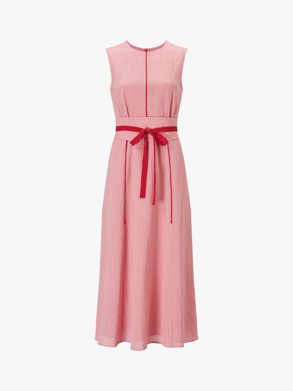 Sleeveless Maxi Dress With Wide Belt