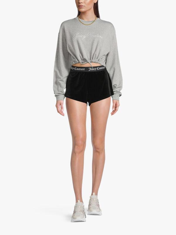 Velvet Shorts With Elastic Waistband