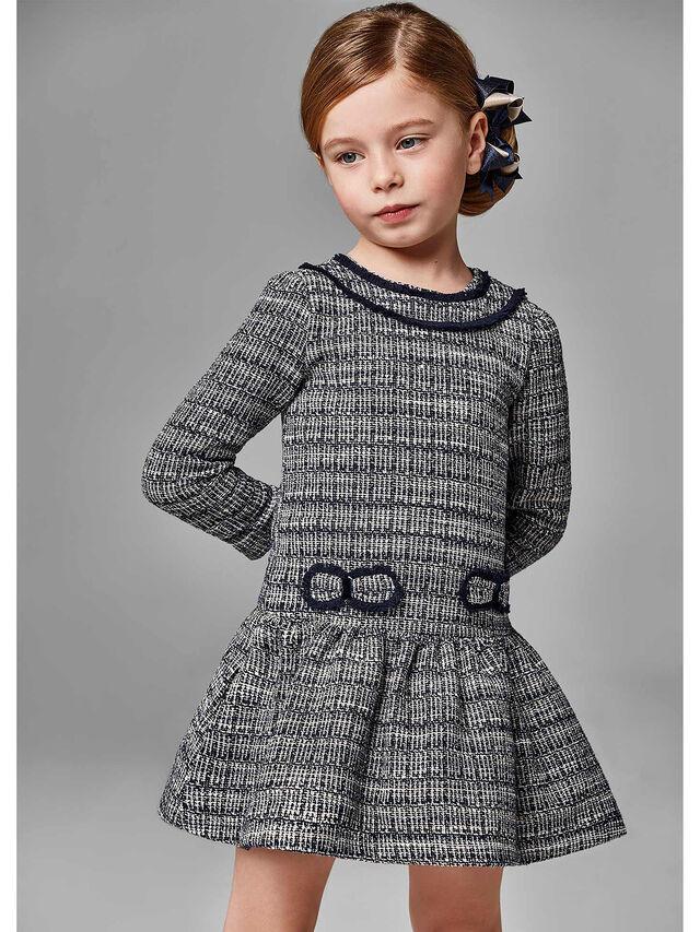 Tweed flower check dress