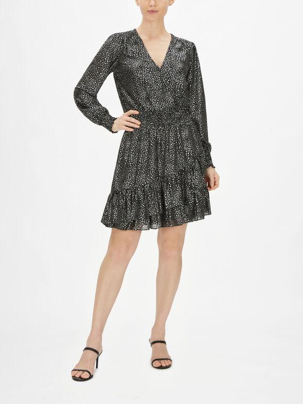 Spaced Galaxy Ruffle Mini Dress
