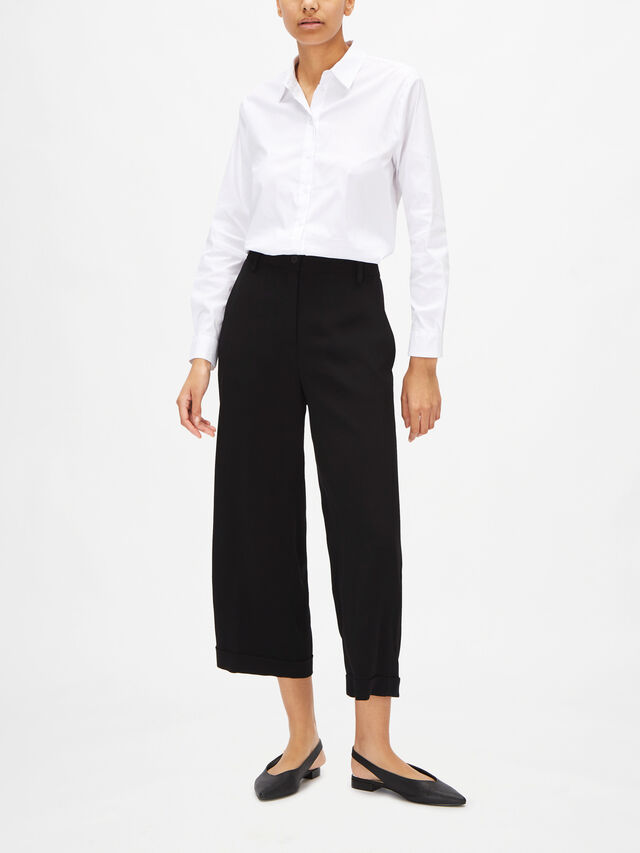 Button Front Cropped Wide Leg Viscose Trouser