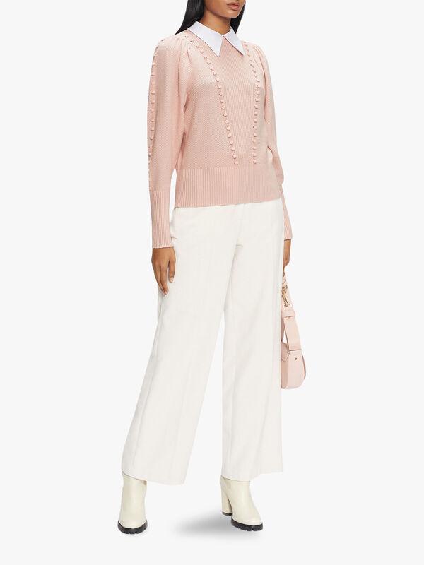 ALEDINA Denim Knit Sweater With Collar Detail