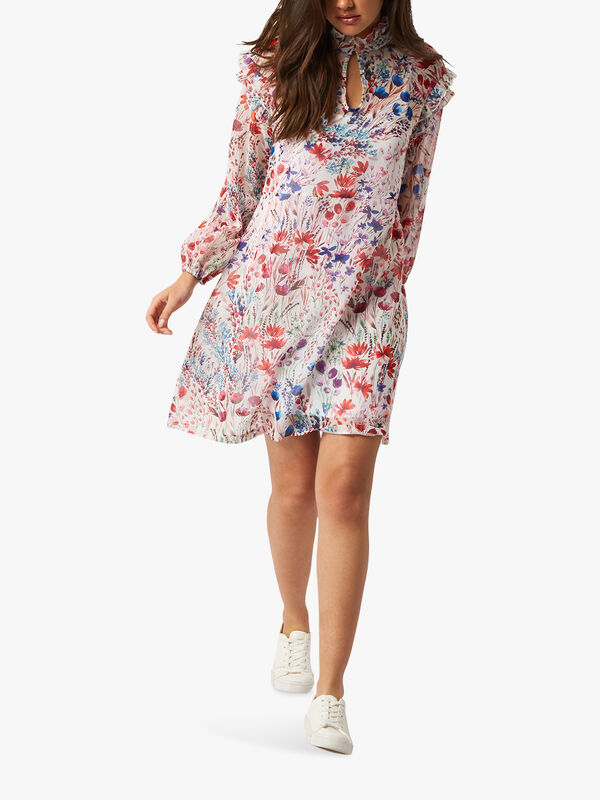 Ruffle Long Sleeve Floral Mini Dress