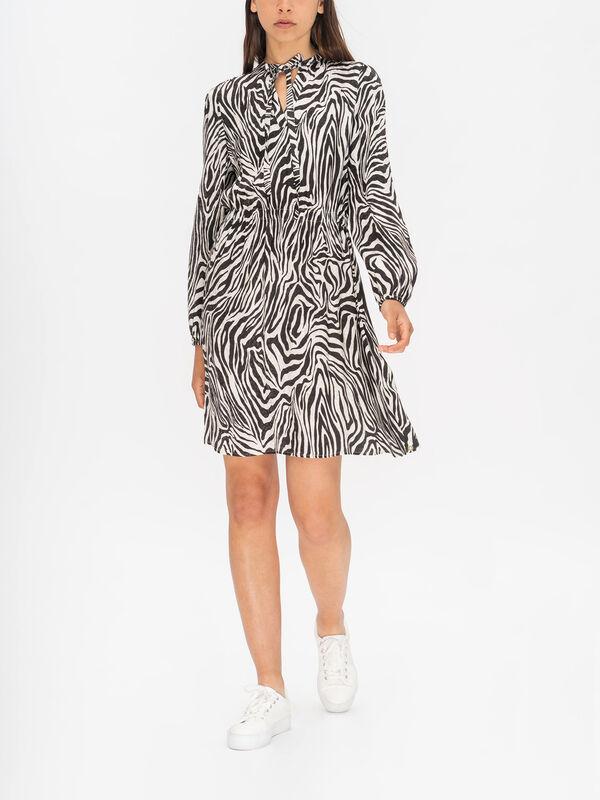 Ginger Printed Long Sleeve Midi Tea Dress
