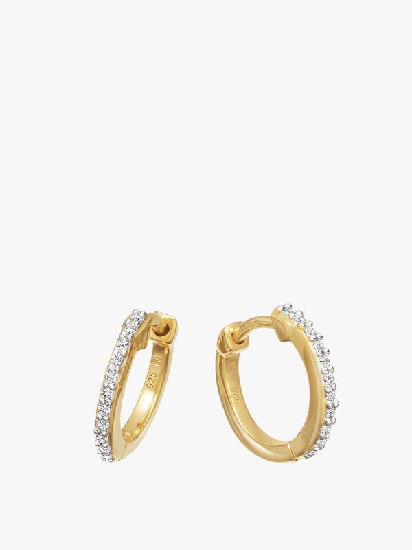 Gold Pave Huggie Pair