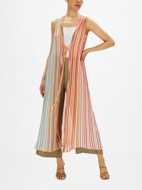 Lurex Fine Stripe Sleeveless Cardigan