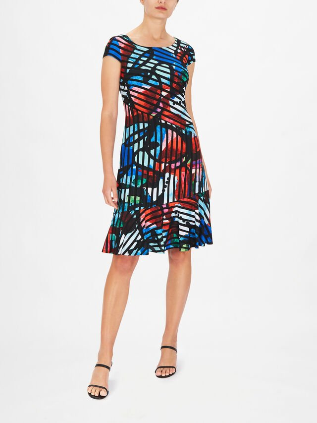 Cap Sleeve Abstract Print A Line Dress with Ruffle Hem