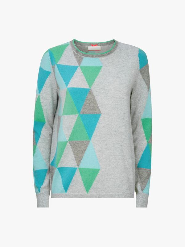 Crew Neck Triangle Motif Knit