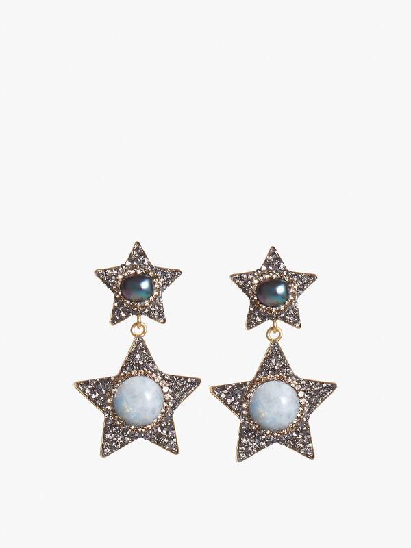 Celestial Moonstone and Pearl Star Earrings
