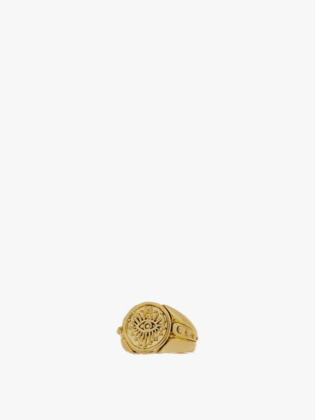 The Evil Eye Coin Signet Ring