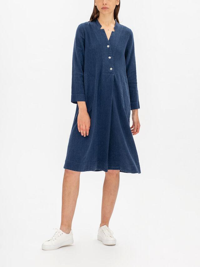 Textured Linen Pleat Dress