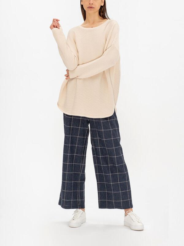 Fenna Long Sleeve Drop Shoulder Curved Hem Ribbed Knit