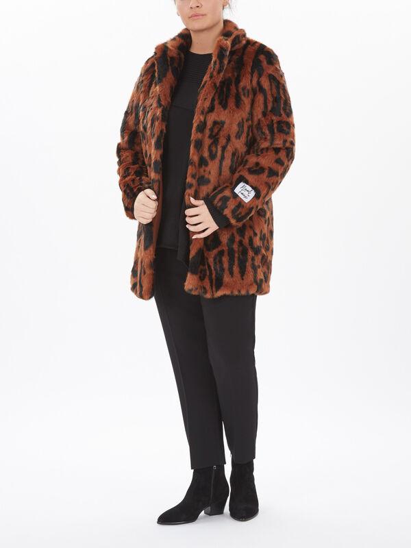 Faux Fur Leopard Print 3/4 Coat