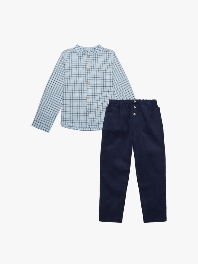 Check Shirt With Cord Trousers