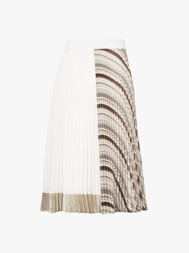 Colour Blocked Pleated Skirt