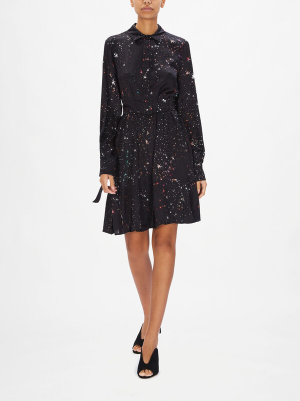 Smalto Belted Star Print Dress