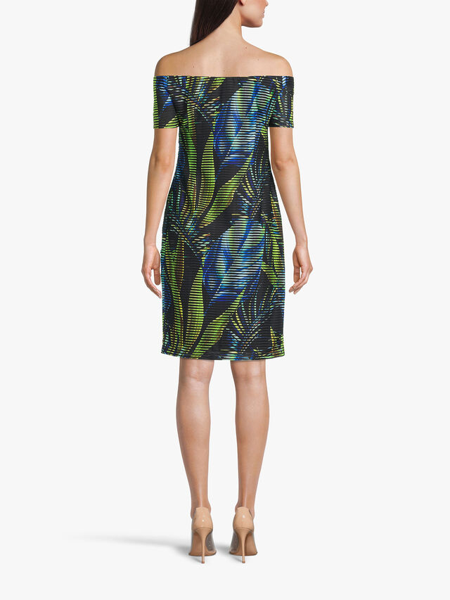 Off The Shoulder Leaf and Stripe Print Fitted Dress