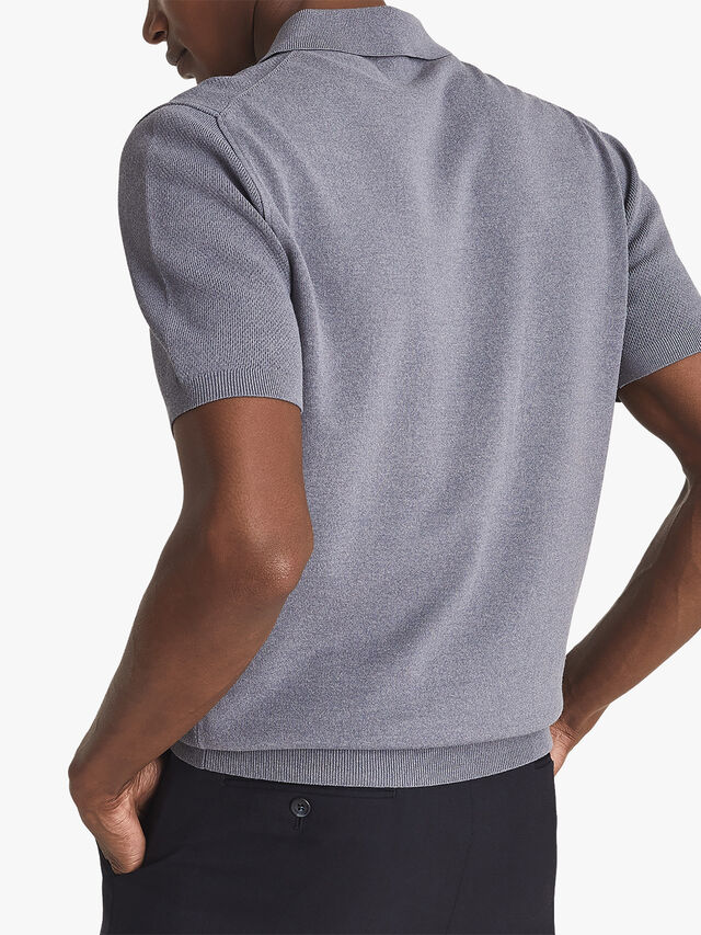 Albany Textured Zip Neck Polo Shirt