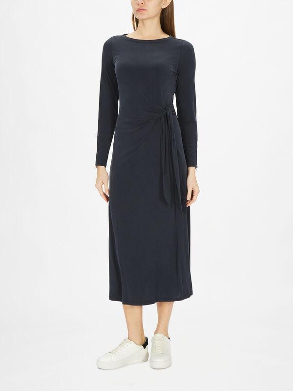 Navy Tie Front Jersey Dress