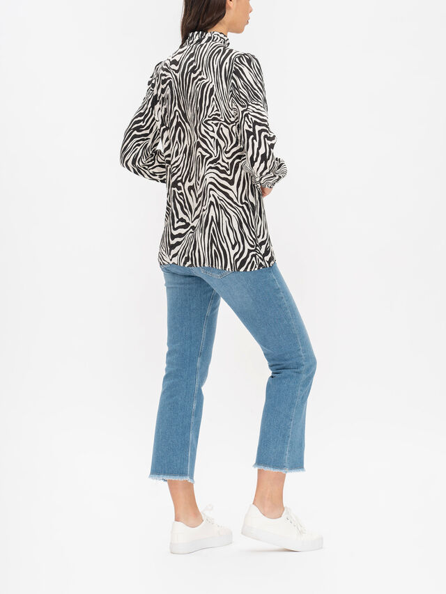 Soffiato Printed Long Sleeve Blouse With Neck Tie