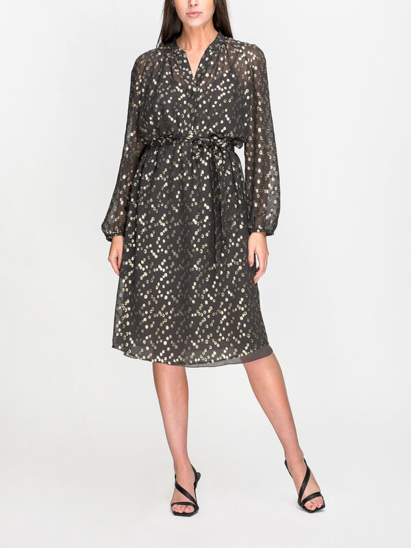 Collarless Belted Tunic Dress