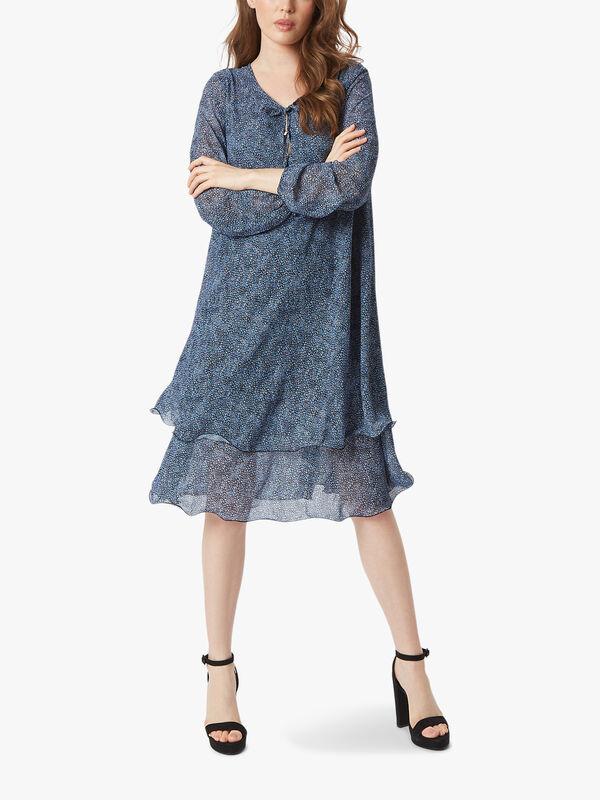 Tie-up Long Sleeve Wave Hem Dress