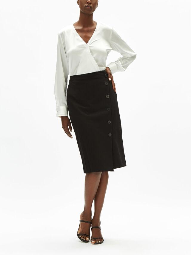 Button Detail Skirt