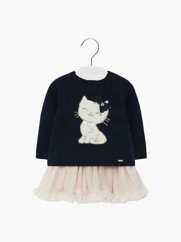 Tulle Dress With Kitten Design