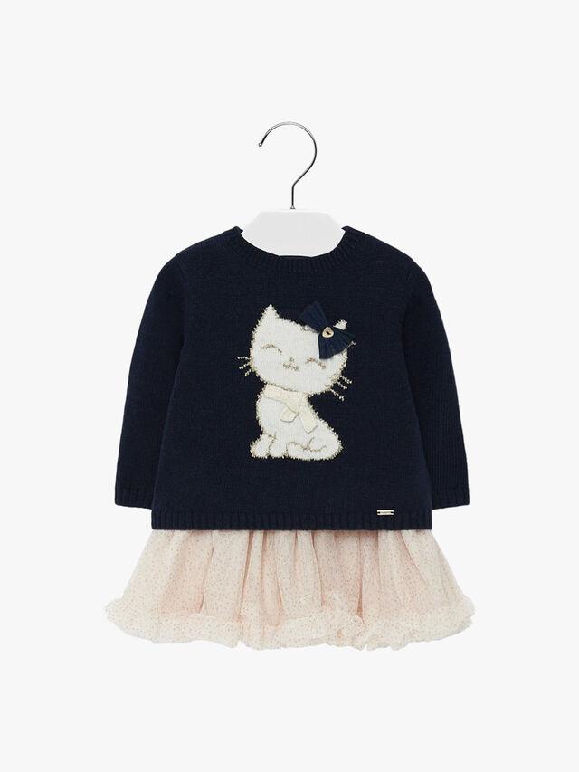 Tulle Dress With Kitten Design