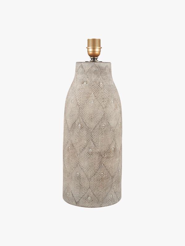 Matt Grey Feather Stoneware Table Lamp
