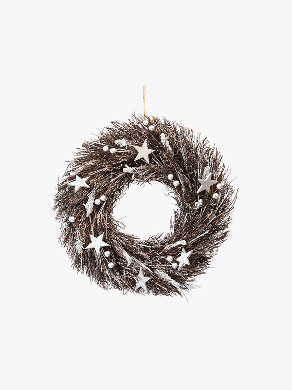 Silver Berries and Stars Wreath 36cm