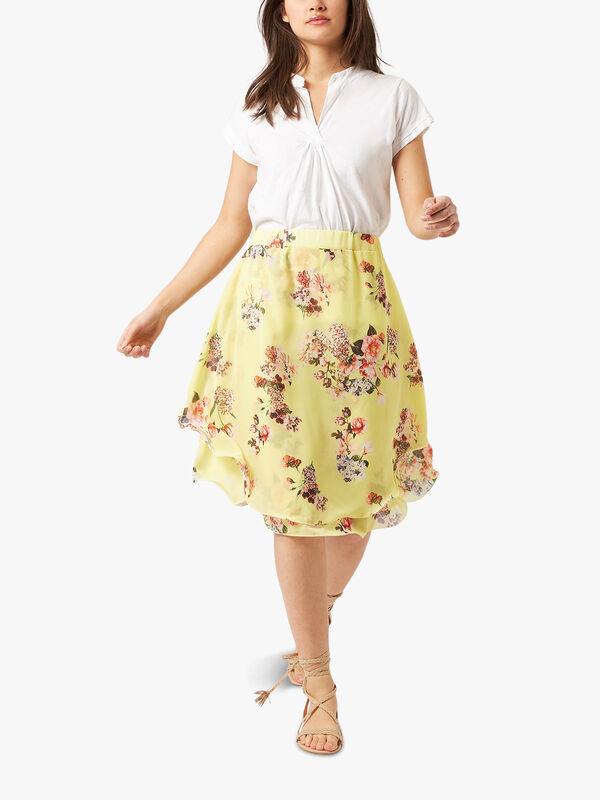Floral Wave Hem Skirt